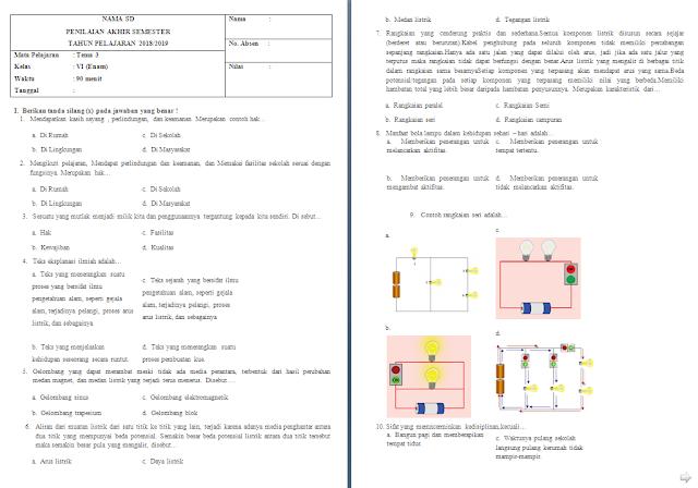 Soal Semester Kelas 6 Tema 3