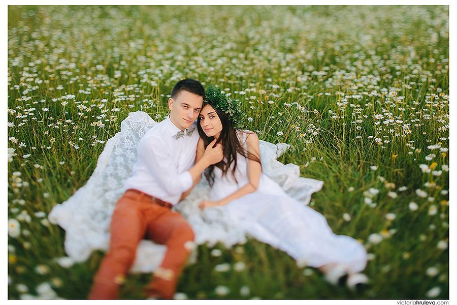фотосессия в ромашковом поле, свадебный фотосграф пятигорск