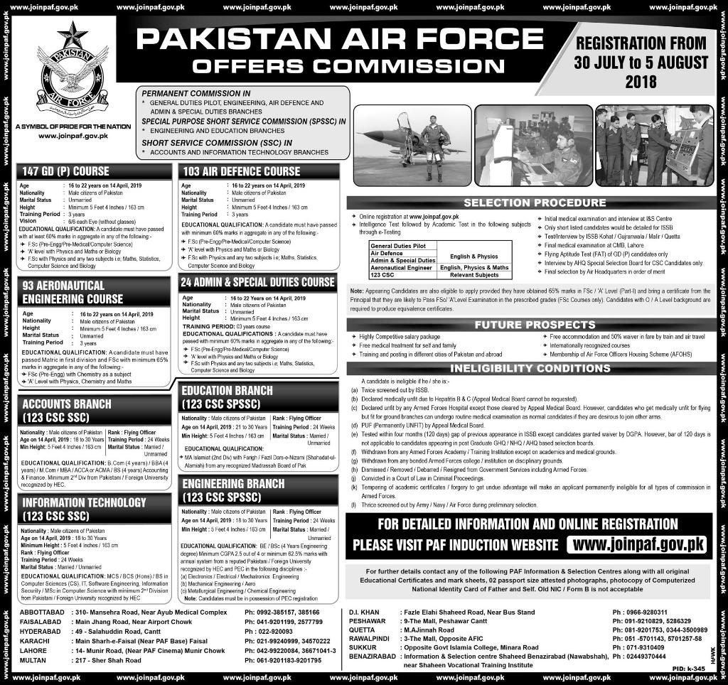 Join PAF August 2018 Pakistan Air Force [ Commission Officer ]