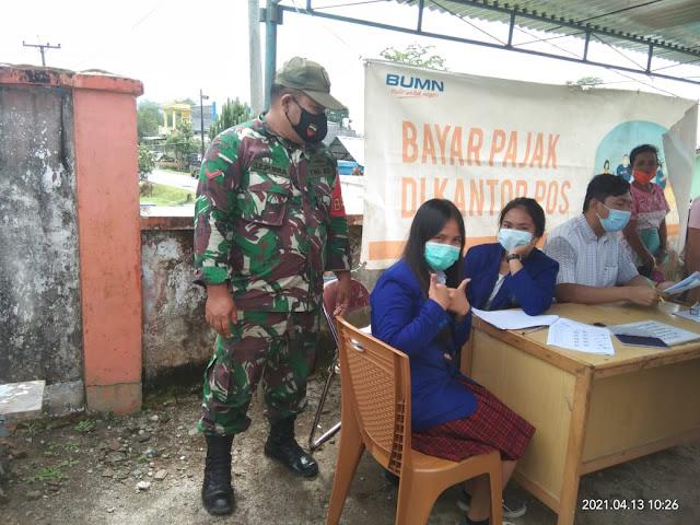 Kodim 0207/Simalungun Melalui Koramil 14/Raya Monitor Penyaluran BST Kemensos RI