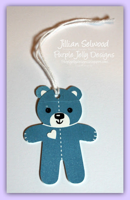 Gift tag, Marina Mist Cardstock, White Bakers Twine, Cute bear