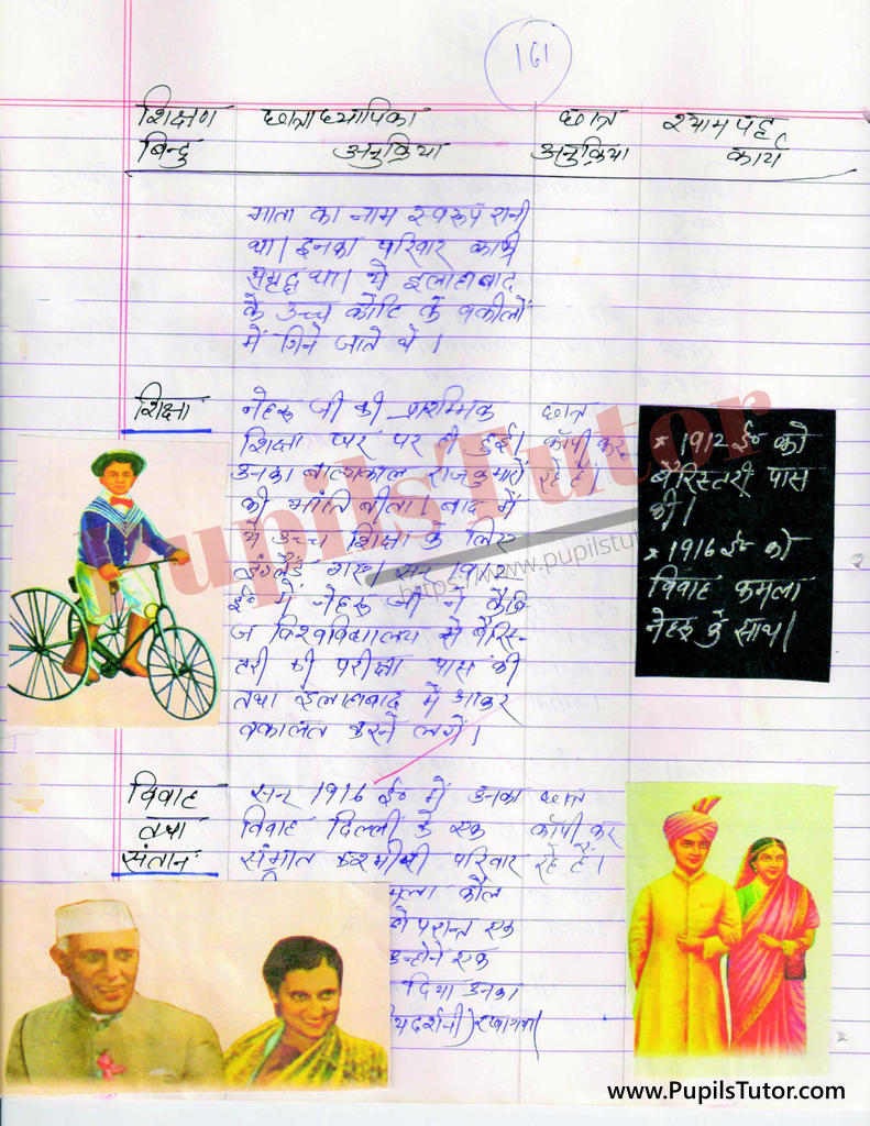Bharat Ke Pradhan Mantri Shri Pandit Jawaharlal Nehru Ji k Jeevan par Lesson Plan in Hindi for BEd and DELED