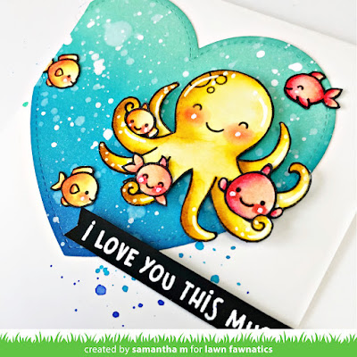 I Love You This Much Card by Samantha Mann, Lawn Fawn, Lawn Fawnatics, Love Card, Valentine's Day Card, Octopus, Ocean, Distress Inks, Ink  bending, heat embossing, #lawnfawn #lawnfawnatics #distressinks #inkblending #love #valentinesday #cards #cardmaking