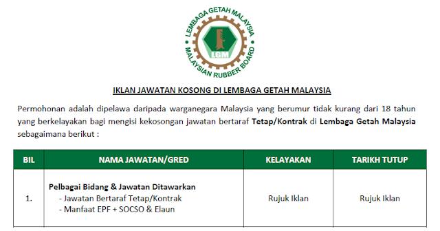 lembaga getah malaysia jawatan