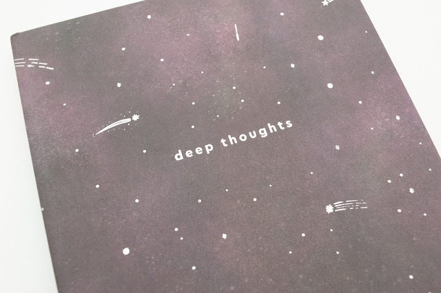 Space themed galaxy notebook with the words 'deep thoughts' on the cover.