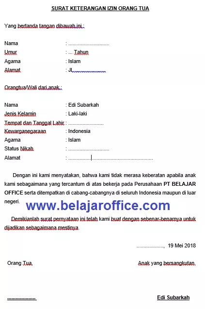 Contoh Surat Izin Orang Tua (via: belajaroffice.com)