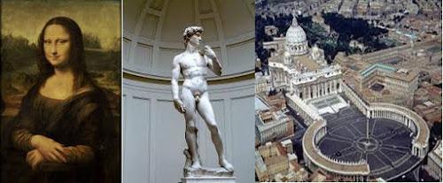 Mona Lisa(Leonardo Da Vinci) David (Minguel)Vaticano(San Pedro)