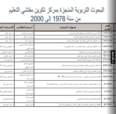 جرد لعناوين البحوث التربوية المنجزة بمركز تكوين المفتشين من 1978 إلى 2000