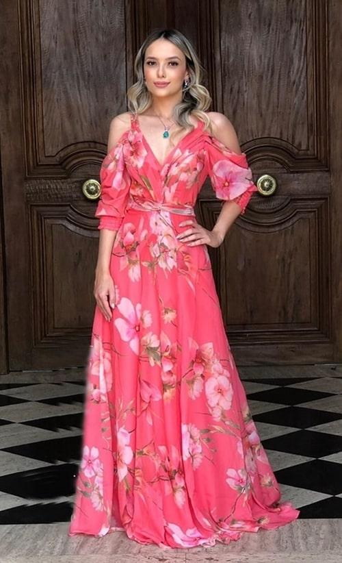 vestido de festa longo coral com estampa floral