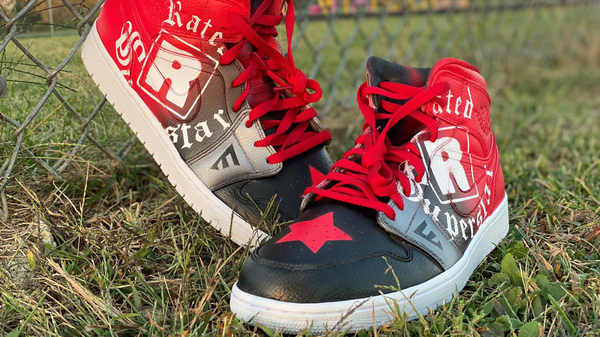 Custom Air Jordan 1s with a design inspired by WWE's Edge