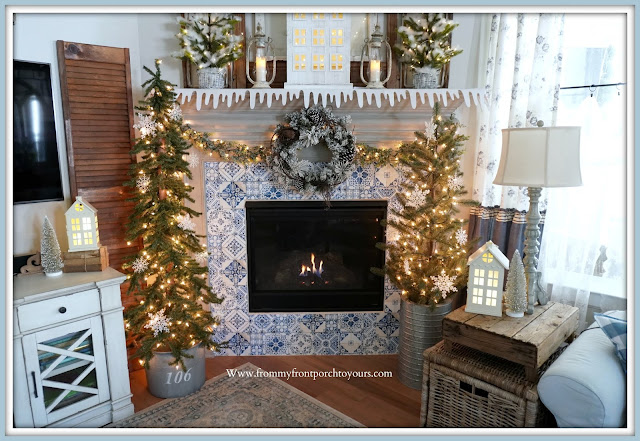 Winter -Fireplace -Mantel -DesignBlue & White- Decor-Cottage-Farmhouse-French Country-DIY-From My Front Porch To Yours