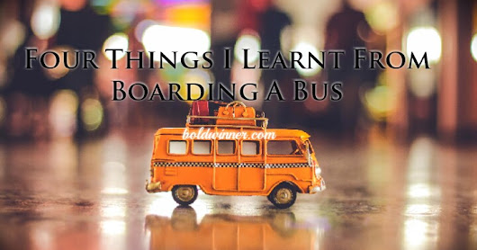 Four Things I Learnt From Boarding A Bus This Morning