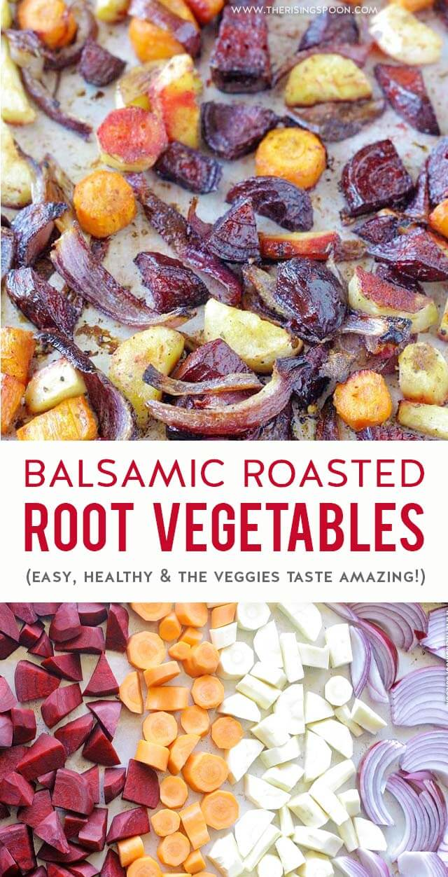 Balsamic Roasted Root Vegetables | A healthy & easy recipe for roasted root vegetables that brings out their natural sweetness & makes them taste irresistible with hardly any work! Perfect for your Thanksgiving & Christmas dinner. #balsamic #rootvegetable