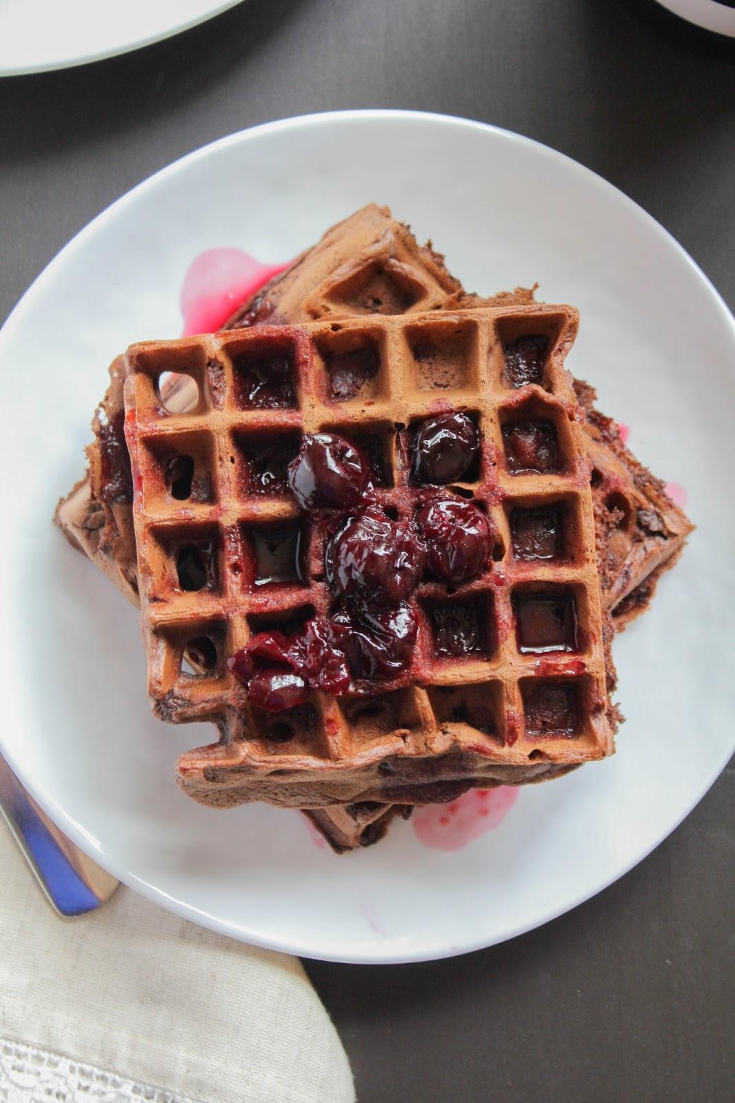 Dark Chocolate Waffles with Cherry Syrup #SundaySupper