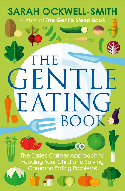 Image of the front cover of The Gentle Eating Book It is green with drawings of vegetables and a knife, fork and plate