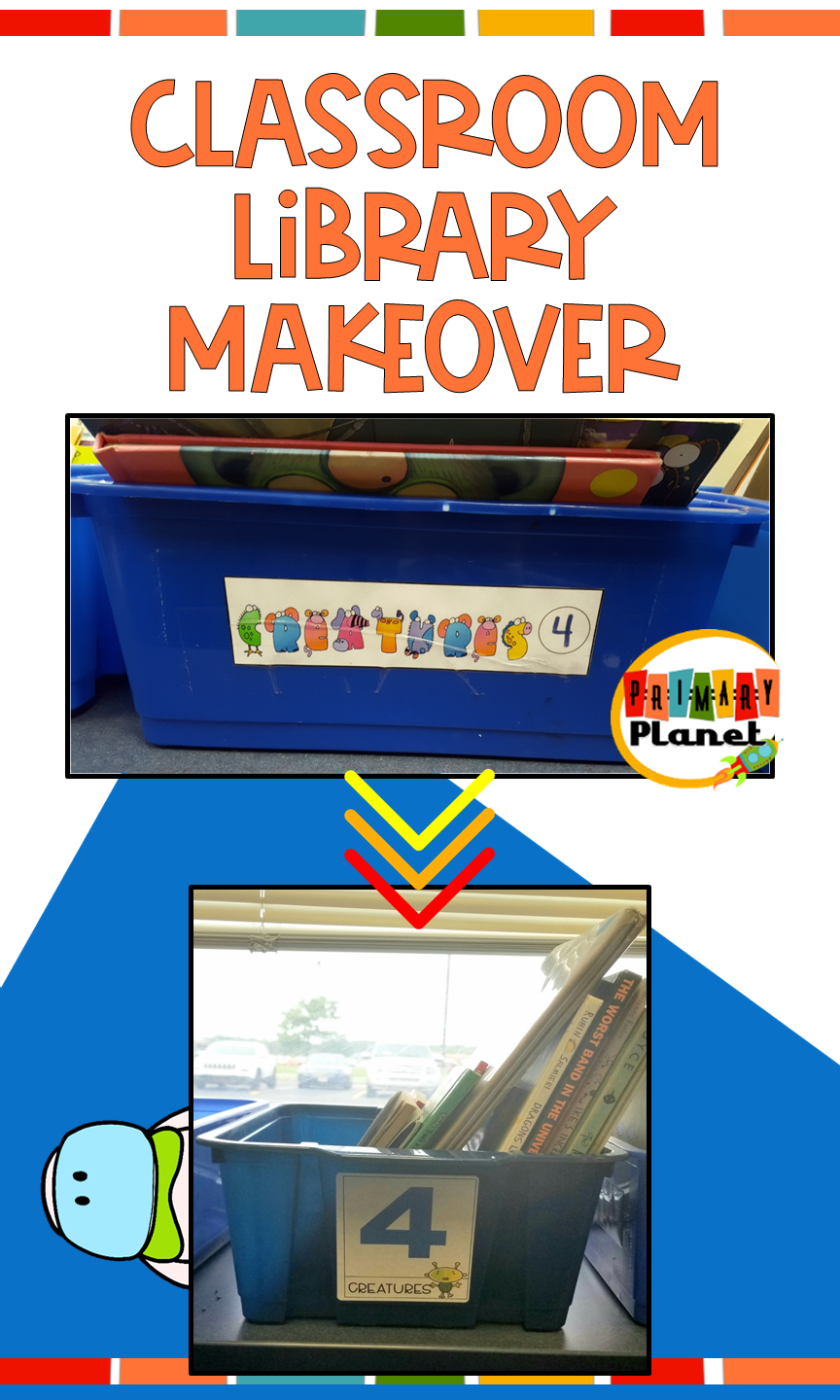 Come and check out my classroom library makeover complete with new book storage: bookshelves! This blog post will give you some great organization ideas for your elementary classroom library!  This blog post also includes a classroom library label freebie for your book bins or baskets that you don't want to miss! Pin it now so you don't lose this great information!  #classroomlibrary #librarylabels #freebie #primaryplanet