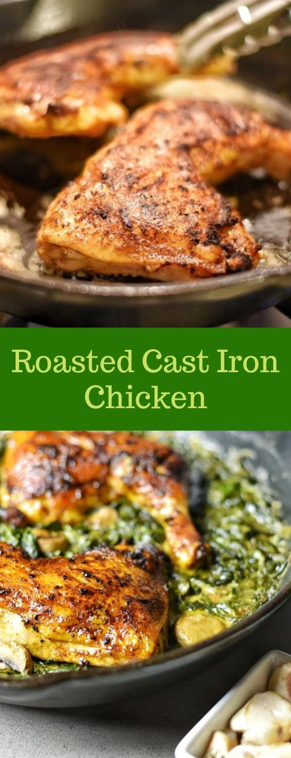 Roasted Cast Iron Chicken #roasted #chicken