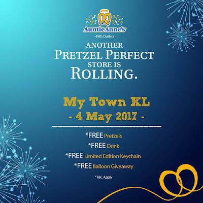 Free Auntie Anne's Pretzels Drink Giveaway My Town KL