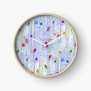 Whimsical rainbow birds on birch trees patterned clock