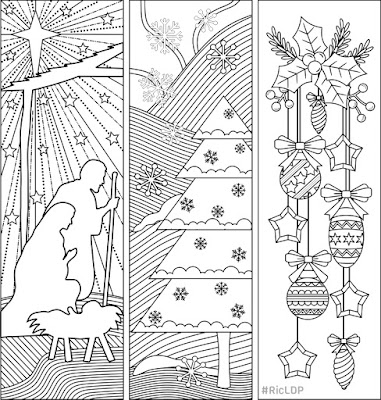 free christmas coloring bookmarks