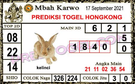 Prediksi Mbah Karwo Hk Jumat 17 September 2021