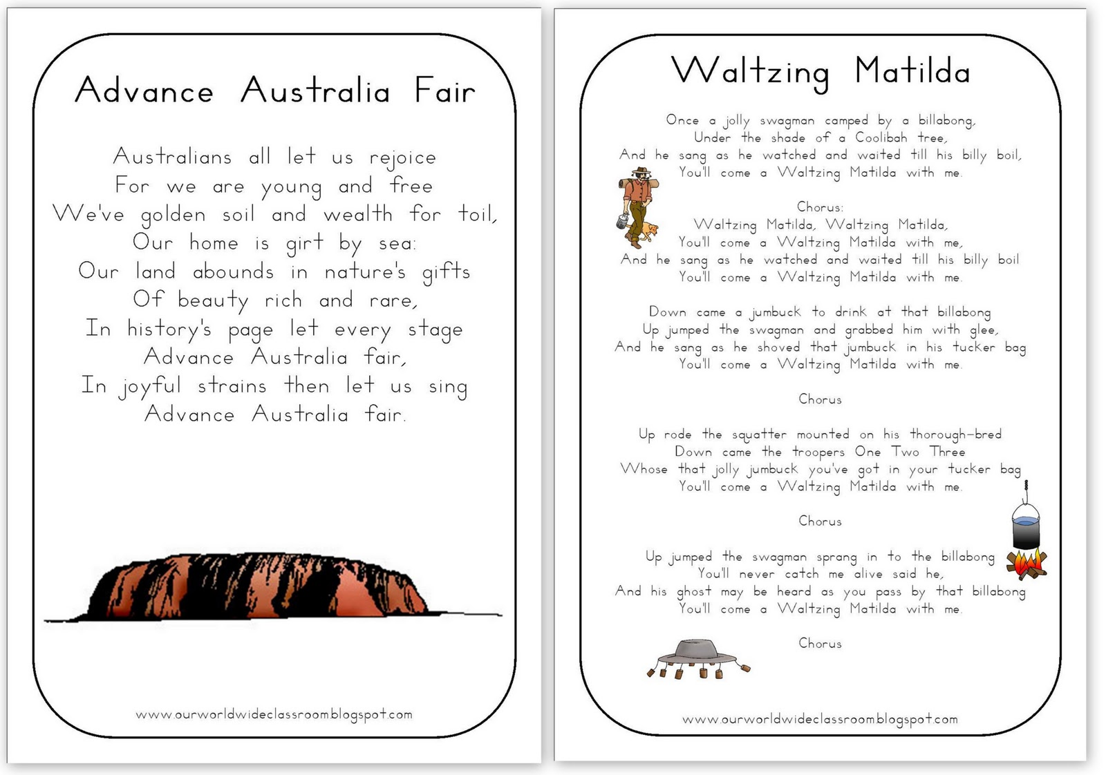 free australian will template - free printable australia day learning packet