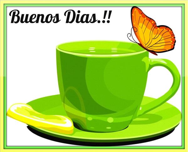 taza de café verde Buenos Dias