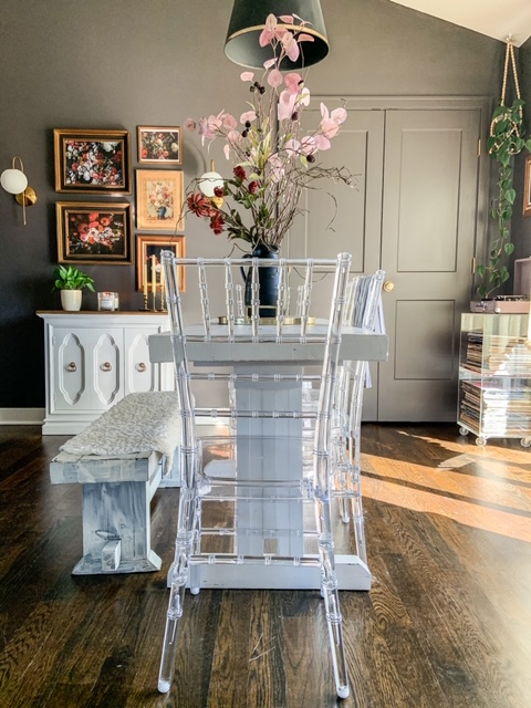 acrylic chairs in dining room