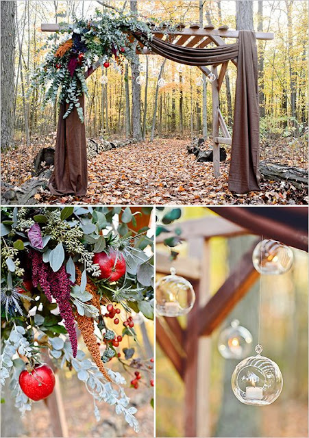 fall wedding arch with eucalyptus leaves