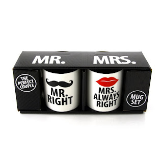 Mr. and Mrs.Always Right Stoneware Couple Coffee Mug Set with gift wrapper