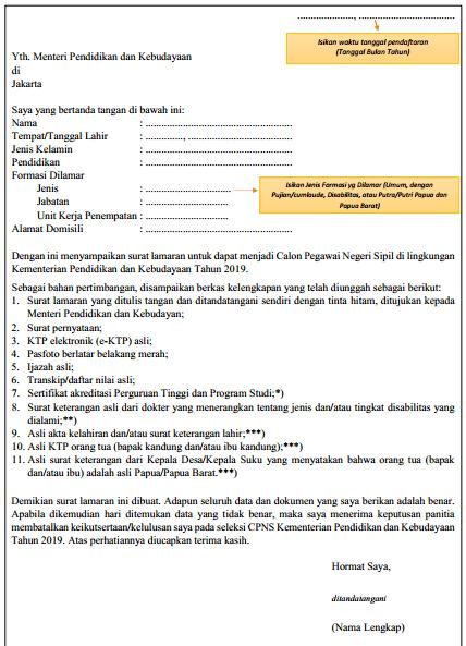Contoh Surat Lamaran Kerja CPNS pdf