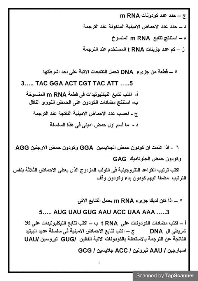 قوانين حل مسائل البيولوجيا الجزيئية احياء للصف الثالث الثانوي أ/ أمل منير 4