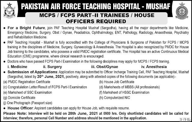 Pakistan Air Force Teaching Hospital Jobs 2021- Government Jobs Latest- New Jobs 2021