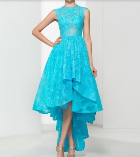 A-line Scoop Neck Blue Lace with Appliques Lace Asymmetrical High Low New Prom Dresses –Price:CA$198.99 ( 60.0% OFF)