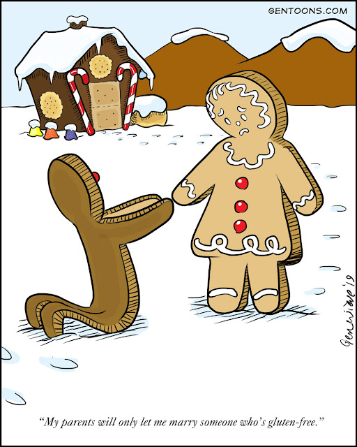 "the gingerbread man kneels in the white icing snow, proposing to his gingerbread lady. but she sadly says ""My parents will only let me marry someone who's gluten-free."""
