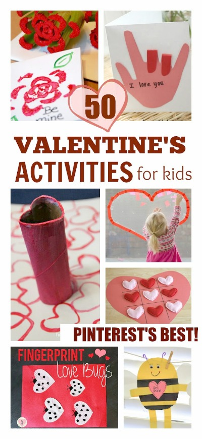 Over 50 easy & fun Valentine's activities and crafts for kids.  Tons of ideas including art, science, games, and more!  #valentinescraftsforkids #valentinesactivitiesforkids #valentinesdayforkids