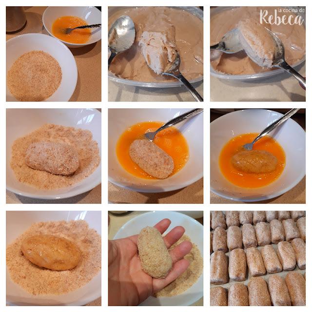Receta de croquetas de cocido: formado y empanado