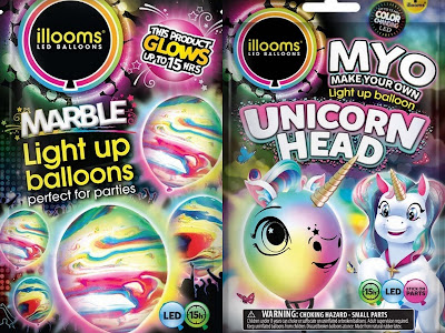 Illoom Balloons unicorn marbled LED light up balloons