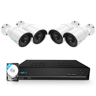 Reolink 8CH 5MP PoE Home Security Camera System, 4pcs Wired 5MP Outdoor PoE IP Cameras