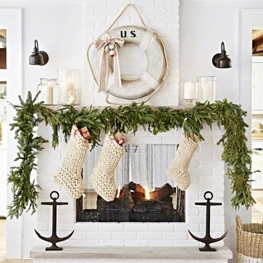 Nautical Christmas Room Fireplace Mantel Decor Inspiration Life Saver Wreath