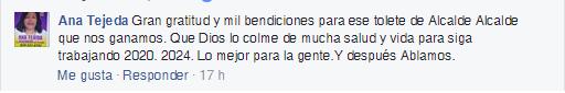 Declaración en Facebook