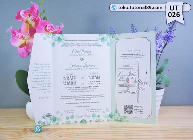 Undangan pernikahan UT026 - Semi Amplop +free kartu ucapan terima kasih
