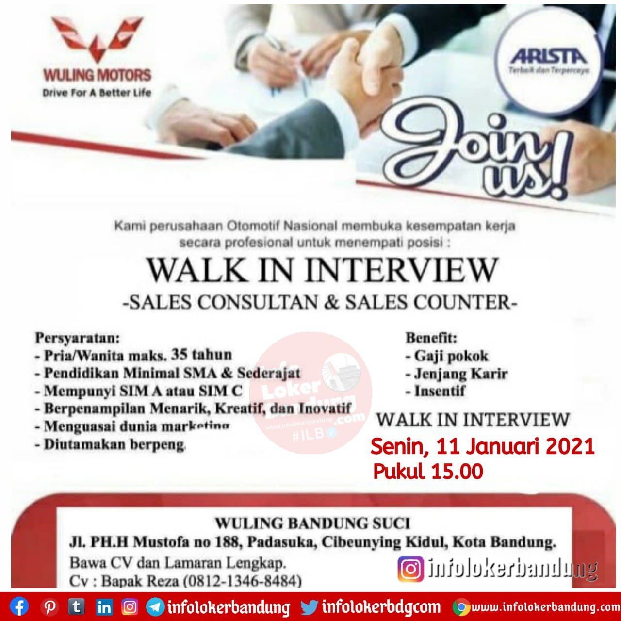 Walk In Interview Wuling Suci Bandung 11 Januari 2021
