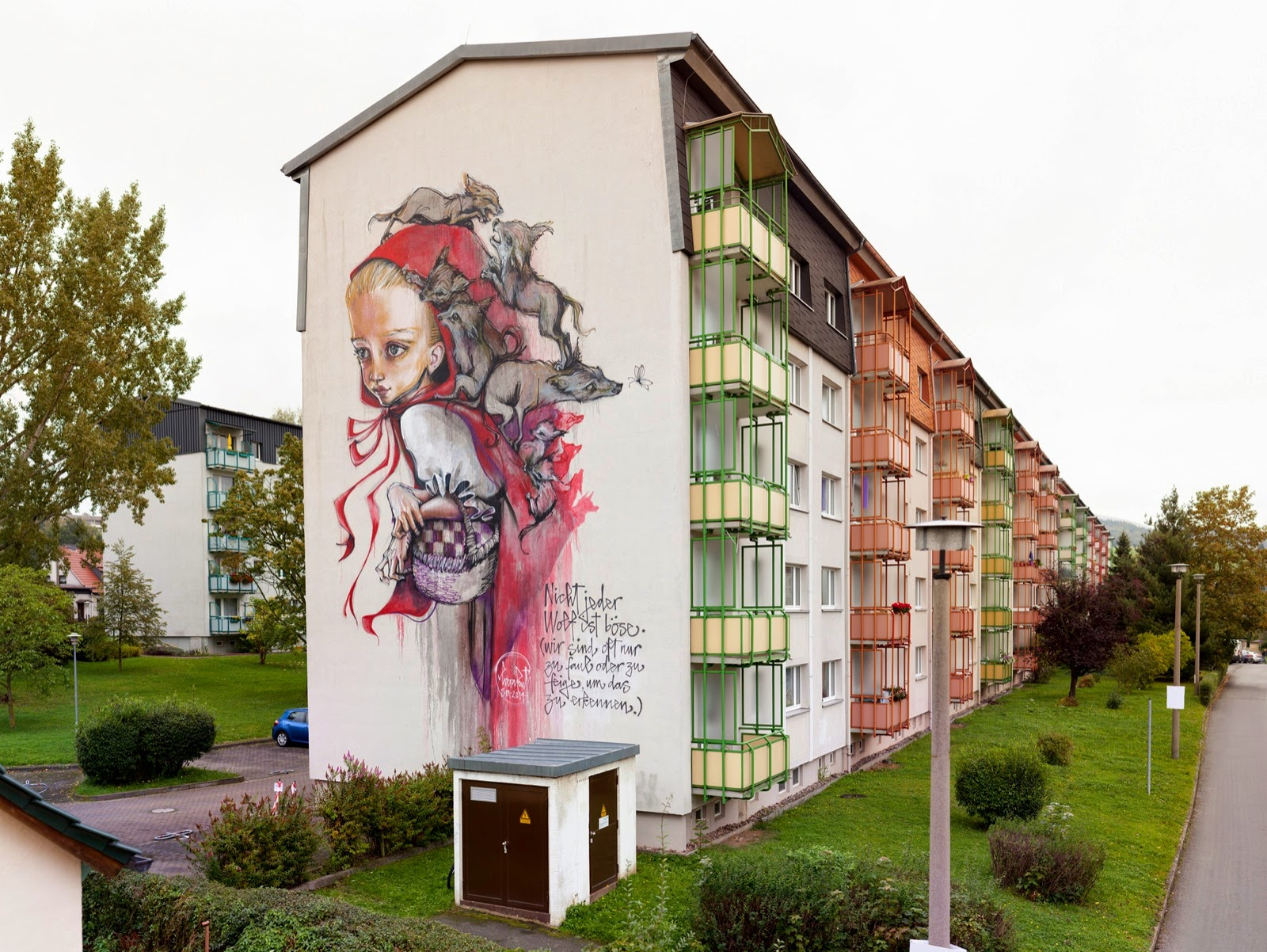 While we last heard from them last August in Turkey, Herakut are now back in Germany where they just finished working on this new piece for the WallCome Festival.