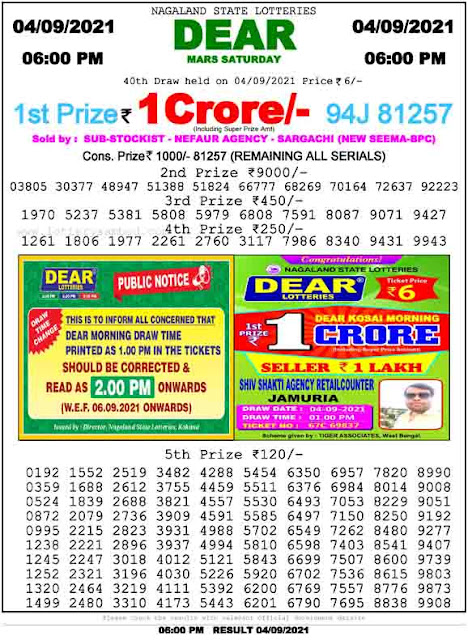 Nagaland State Lottery Result 4.9.2021
