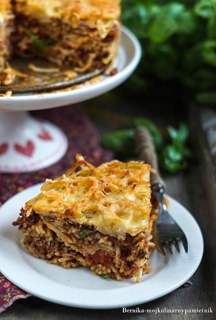 tort, makaron, spaghetti, bolognese, obiad, pomidory, mieso, mieso mielone, bernika, kulinarny pamietnik