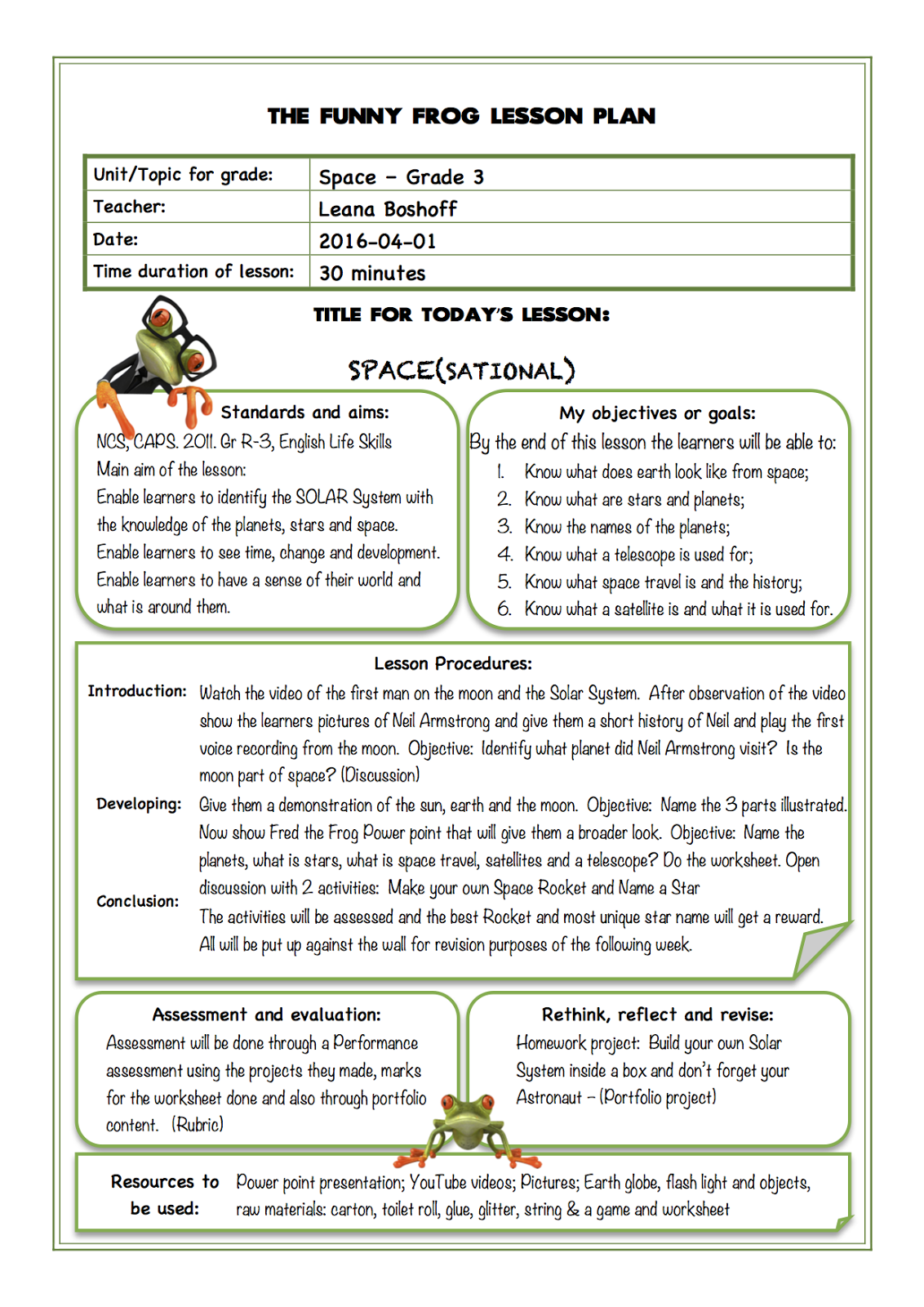 small resolution of The Funny Frog Classroom: Space(sational) - Grade 3 Lesson