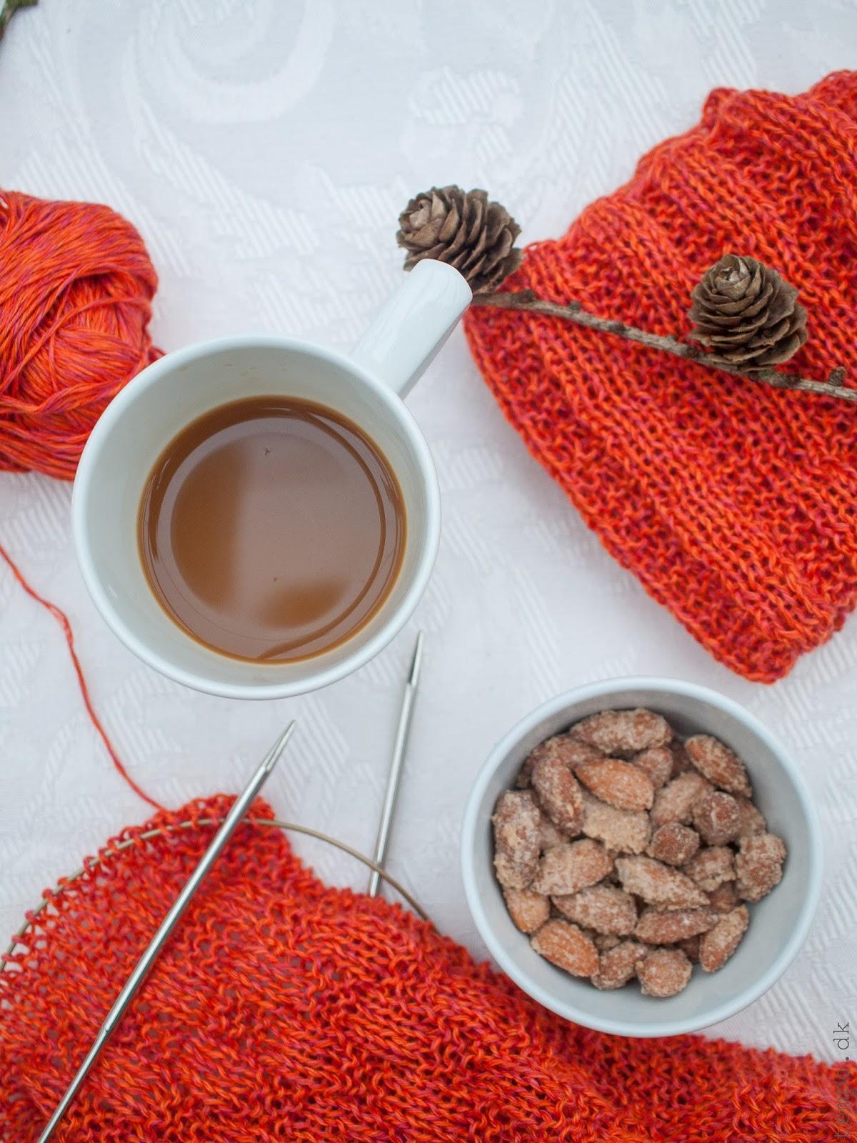 Orange karklude strikket i hør og bomuld