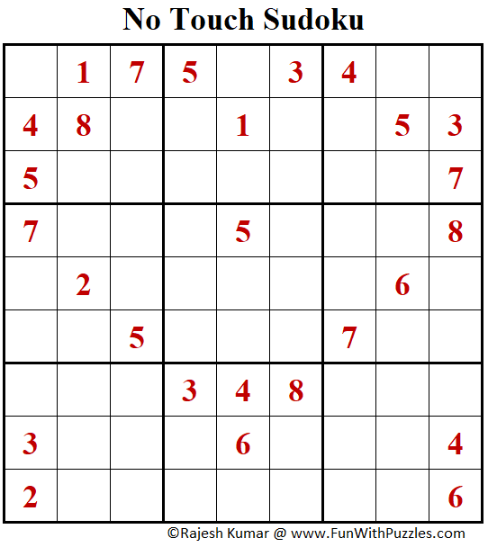 No Touch Sudoku Puzzle (Fun With Sudoku #388)