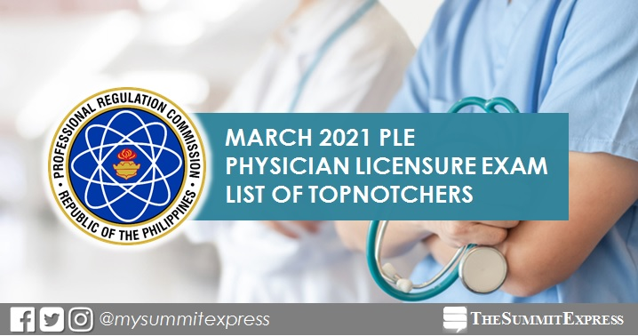 PLE RESULT: March 2021 Physician board exam top 10 passers